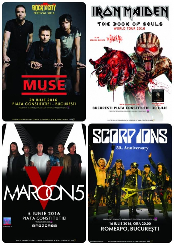 Concerte MAROON 5, SCORPIONS, MUSE si IRON MAIDEN in Bucuresti