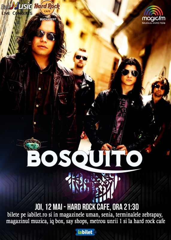 Concert Bosquito pe 12 mai, in Hard Rock Cafe din Bucuresti