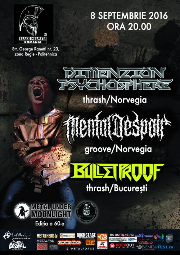DIMENZION PSYCHOSPHERE, Mental Despair, Bulletproof (Metal Under Moonlight LX, 08.09.2016)