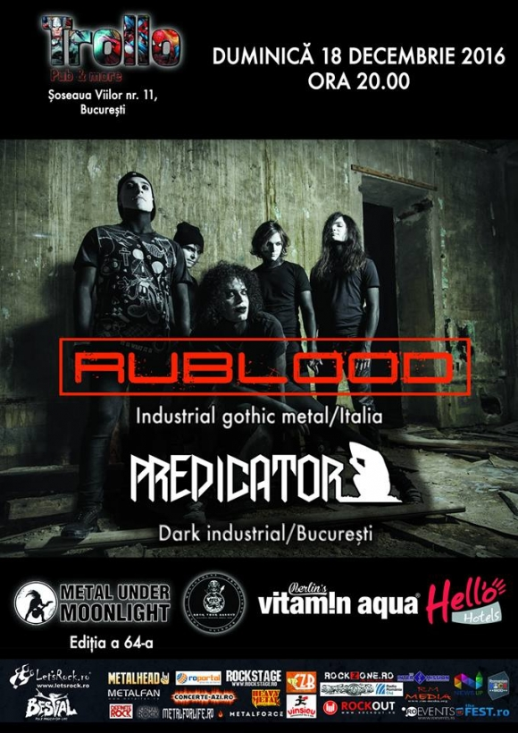 Doua concerte de industrial gothic italian cu trupa Rublood: la Sibiu si Bucuresti