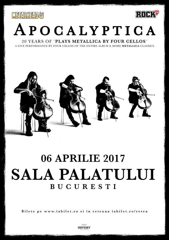 Ultimele zile de bilete la oferta earlybird la 'Apocalyptica plays Metallica la Sala Palatului'