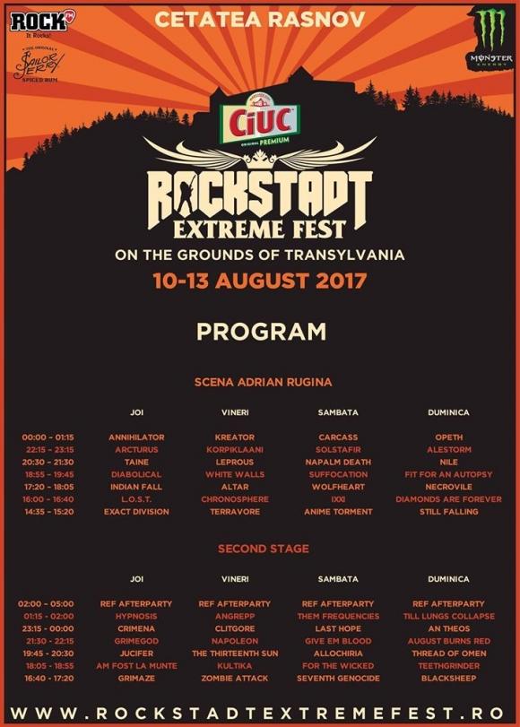 Rockstadt Extreme Fest 2017 - line-up final si programul pe zile