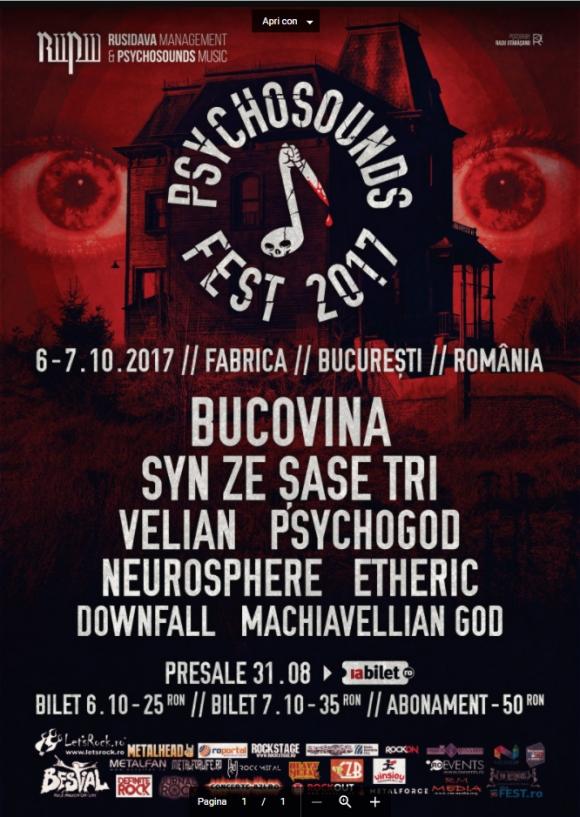Trupele care vot participa la Psychosounds Fest