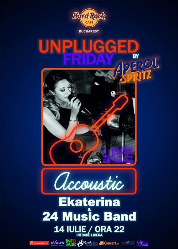 Concert acustic Ekaterina & 24 Music Band pe terasa Hard Rock Cafe