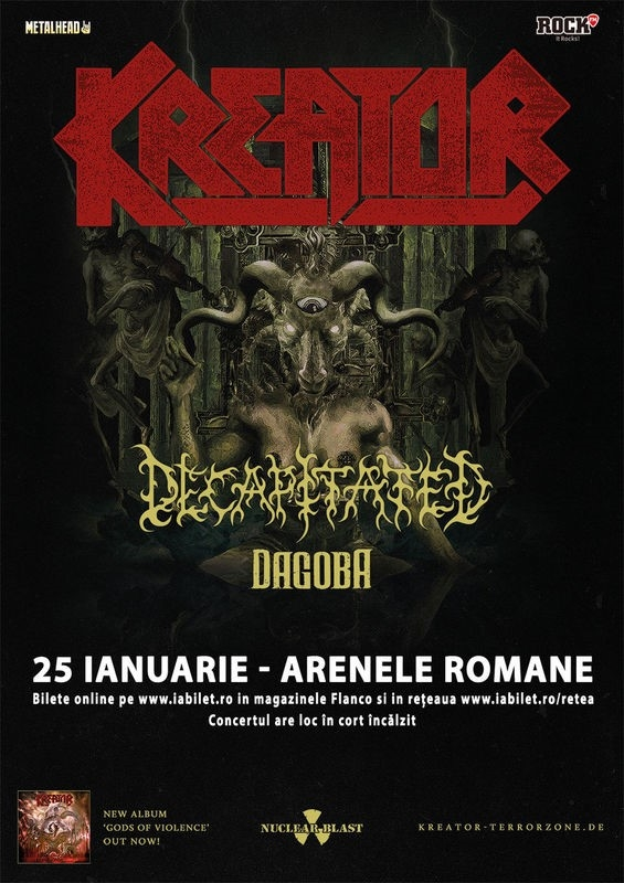 Concert Kreator, Decapitated si Dagoba la Bucuresti