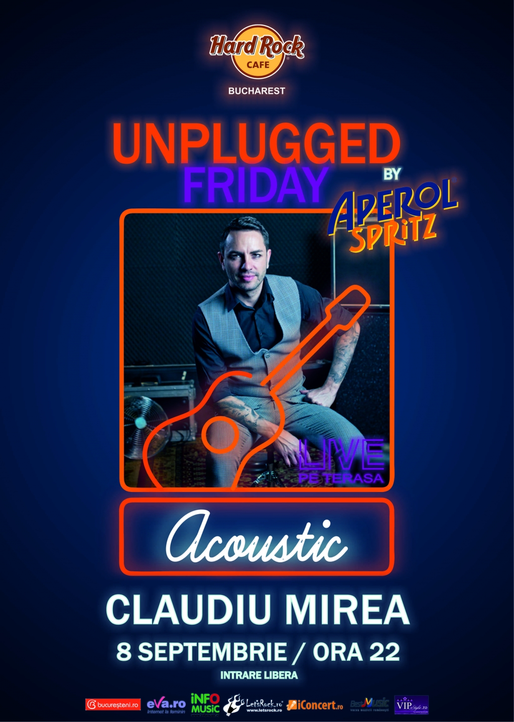 Unplugged Friday cu Claudiu Mirea pe 8 septembrie la Hard Rock Cafe
