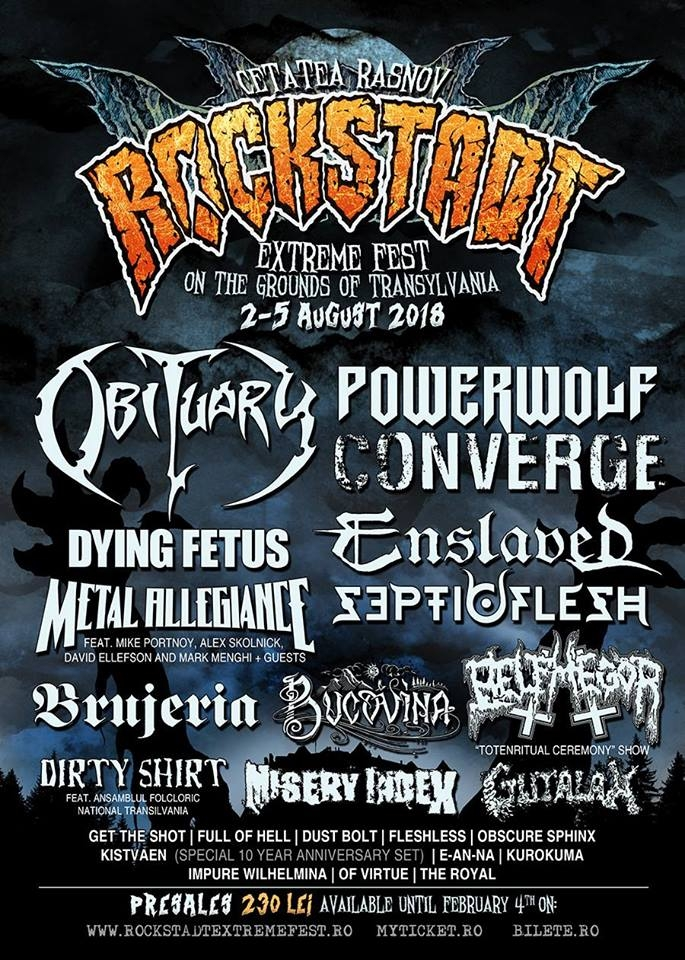 BRUJERIA, ENSLAVED, OF VIRTUE si THE ROYAL, confirmati la Rockstadt Extreme Fest