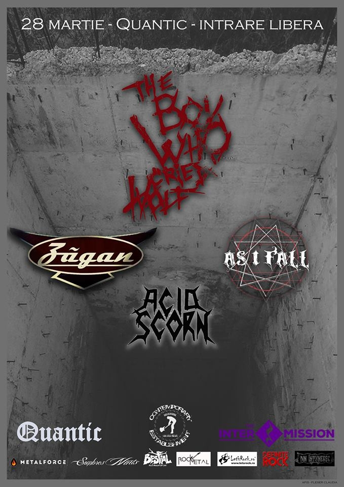 Concert The Boy Who Cried Wolf, Zagan, As I Fall, Acid Scorn in club Quantic