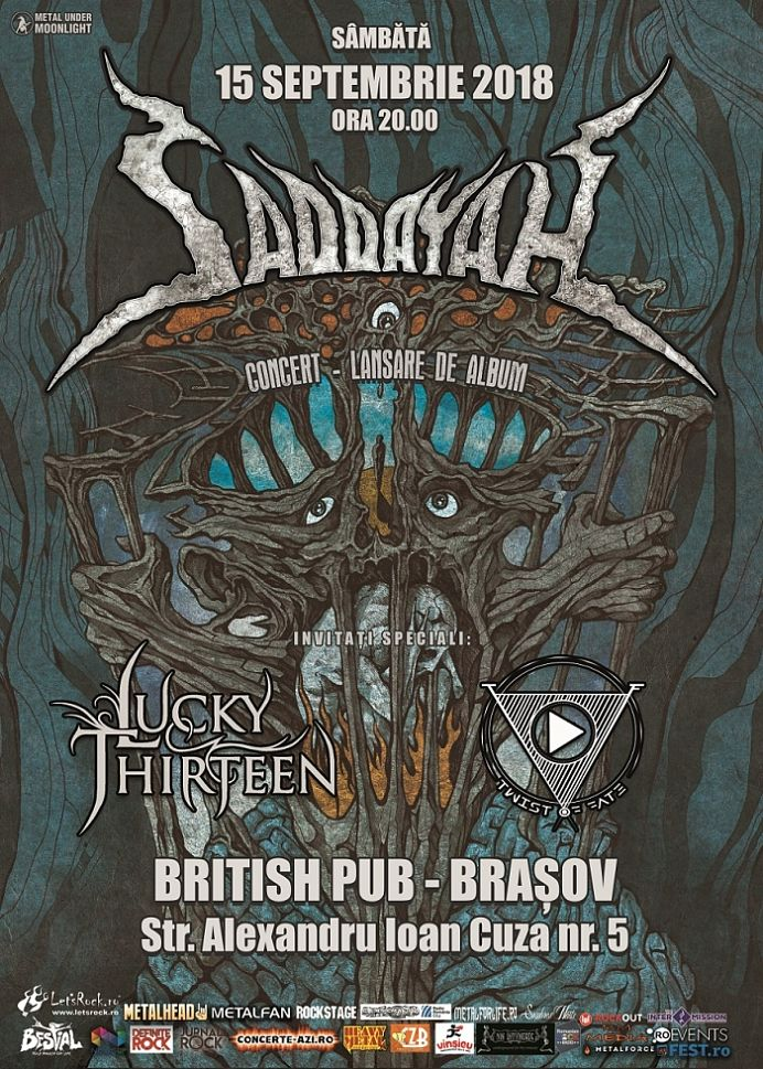 Saddayah, concert si lansare CD la Brasov invitati Lucky Thirteen & Twist of Fate
