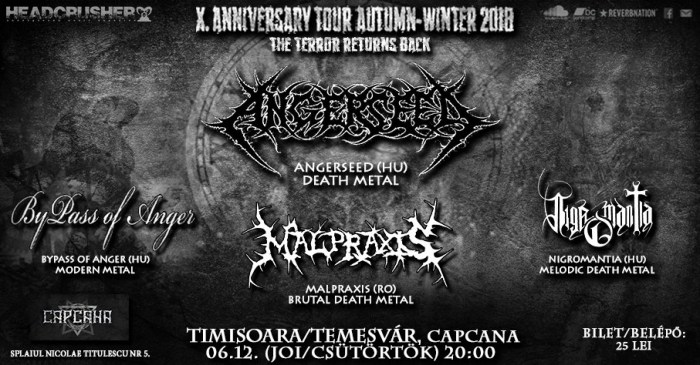 Concert Angerseed, Malpraxis, Nigromantia in club Capcana din Timisoara.
