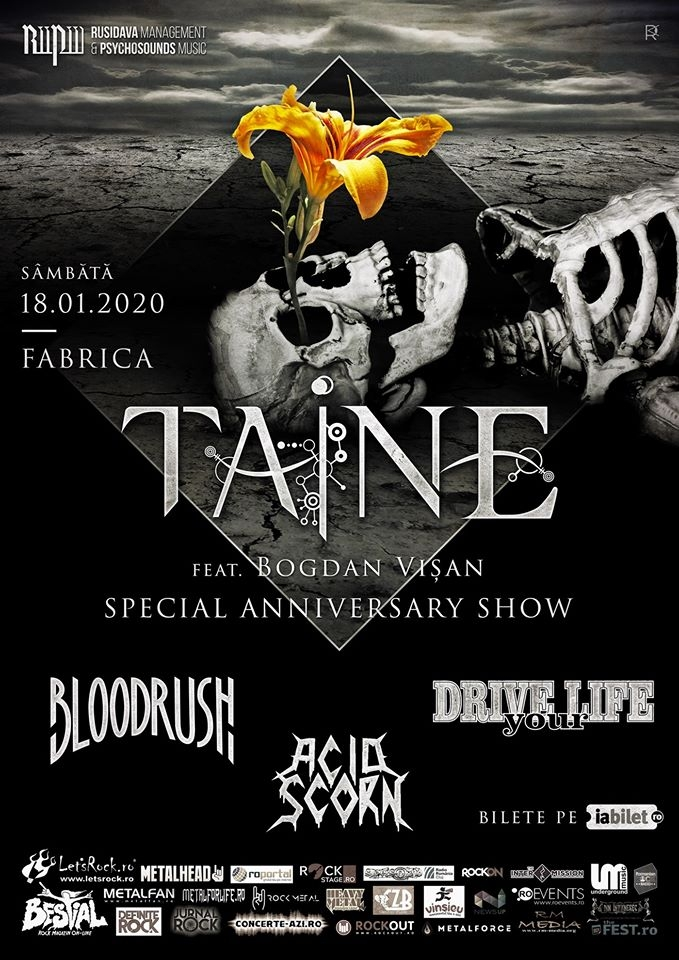 Concert aniversar Taine, Bloodrush, Drive Your Life si Acid Scorn in club Fabrica